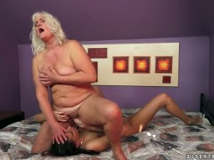Blonde with huge knockers having lesbian fun with lesbian Judi