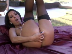 Dylan Ryder with giant tits and trimmed muff spends her sexual energy alone with the help of toy