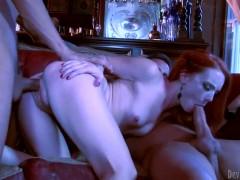 Redhead pornstar Dani Jensen owned by two dicks