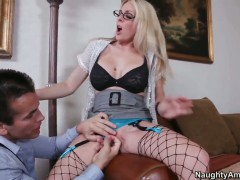 Talon admires fuck crazed Angela Attisons body before she takes his dick in her muff